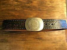 Vintage 70s Tooled Leather Belt, Embossed with Mexico And Mayan Calendar Buckle