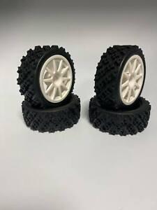 D0012 1/10 RC RALLY Block Tyre Set for 52mm X 26mm, 12mm HEX wheels Tamiya, Kyos
