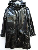 ZARA COAT BLACK FAUX PATENT LEATHER WATER RESISTANT RAINCOAT SIZE S M