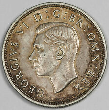 Great Britain Uk 1937 Silver Crown Coin Choice Unc Nicely Toned George Vi Km#857
