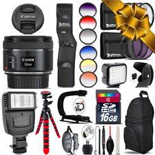 Canon EF 50mm f/1.8 STM Lens + Color Set + LED Light - 16GB Holiday Gift Bundle