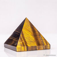 238g 63mm Natural Tiger Eye Quartz Crystal Pyramid Healing Gemstone Chakra Decor