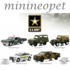 GREENLIGHT 58028 MOTOR WORLD DIORAMA U.S. ARMY BASE VEHICLES 1/64 5 CARS SET