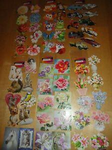 60 Glimmer Reliefbilder Blumen Tiere Autos Eulen usw, Jittenmeier Karten basteln