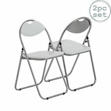 Folding Chairs Padded Faux Leather Studying Dining Office Event Chair White x2