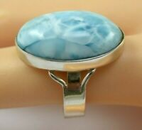 Top quality Ring Larimar Blue 925 Silver Gem Stone Size 9.5 (8.8 G) A856