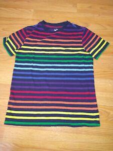Primary.Com Kids Rainbow Stripe Tee Double Rainbow Navy Short Sleeve Shirt Sz 12