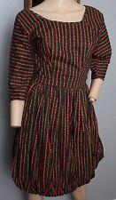 VTG 50's Southwestern Aztec Ethnic Atomic Chimayo Look Stripe Bubble Hem Dress