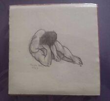 Chick Bragg Charles Lynn Vintage Original Drawing reclining Nude figure Signed