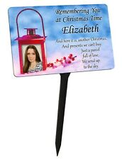 Personalised Christmas Memorial Plaque & Stake Your Photo. Lantern garden grave