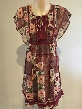 Abercrombie & Fitch Hollister Women's Chiffon Empire Dress S Burgundy Red NWT