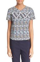 * NWT TORY BURCH Geo Print Ponte V-Neck T-Shirt Riviera Blue Acoma M