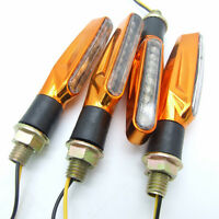 4X Universal Motorcycle 9 LEDs Turn Signal Indicators Blinker Amber Light Gold