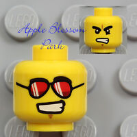 NEW Lego Male MINIFIG HEAD - City Boy Police Agent Pilot Aviator Red Sun Glasses