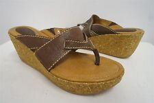 Fossil brown t-strap cork wedges heels sandals slip-on shoes sz 7.5M womens #229