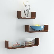 DecorNation Set of 3 Floating U Shape Round Corner MDF Wall Shelf Racks - Brown