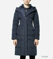 Cole Haan Women Quilted Down Long Coat Taffeta Navy Blue Sz Extra Small XS $275