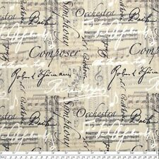 """Timeless Music Notes and Words Linen 100% cotton  fabric remnant 34"""""""