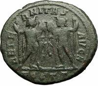 MAXENTIUS 309AD Authentic Ancient OSTIA Roman Coin DIOSCURI GEMINI TWINS i77131