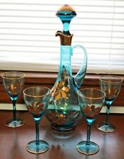 Vintage Blue MOUTH BLOWN CRYSTAL Glass Decanter MADE Hungary Mid Century RETRO