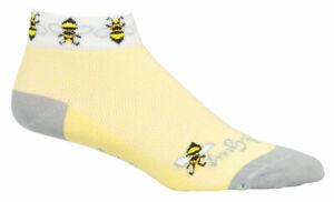 SockGuy Classic Bees Socks 1 inch Yellow Womens Small Medium Synthetic