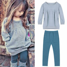 Toddler Kids Girl Long Sleeve Outfits T-shirt Tops + Long Pants Clothes Set