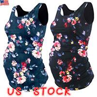 Pregnant Women Summer Floral Tank Tops Maternity Casual Sleeveless Vest T Shirt