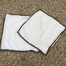 Ralph Lauren BELLOSGUARDO Euro European SHAMS Linen Cream Brown Trim Set of 2