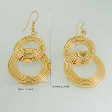 "DANGLE TALL 2.17"" EARRING WIDTH 1.1"" NUMBER 8 INFINITE SYMBOL 18K YELLOW GOLD GP"