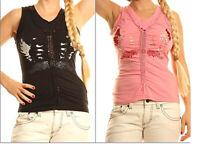 Top Canotta Donna Maglia SEXY WOMAN T-Shirt Rosa Nero A919 Tg S M