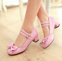 Sweet Bowknot Womens Lolita Retro chunky heels Pumps Ankle Strap Shoes Plus Size