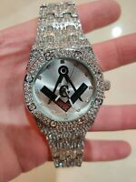 Fully Iced Watch Masonic Bling Rapper Lab Diamond Metal Band Silver Hip Luxury