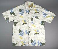 Jos A Bank Men's Medium 100% Silk Camp Shirt Short Sleeve Floral Hawaiian Print