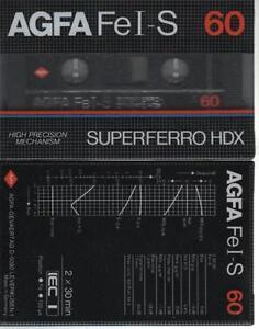 AGFA Fe I-S 60 1x Cassette K7 Tape Blank Vierge Neuf Neu Type I Germany 1982