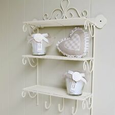 Cream Metal Triple Wall Shelve With Hooks Bathroom Kitchen Wall Storage