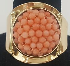 18k 750 Yellow Gold Peach Salmon Pink Coral Diver Egg Bead Ring