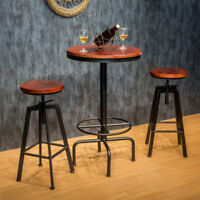 1x Vintage Industrial Bar Stools Chair Retro Kitchen Counter Wooden Seat Pub