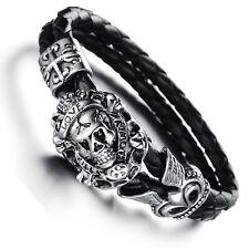 Mens Unisex Stainless Steel Black Genuine Leather Skull Gothic Bracelet G81