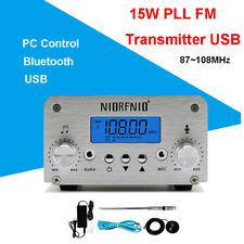 15w PLL FM Transmitter Bluetooth USB Antenna Broadcast Stereo Station 87 108mhz