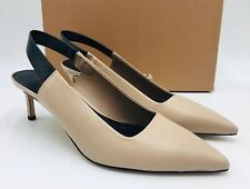 20c3d56baaf1 Via Spiga Blake Leather Slingback Kitten Heel PUMPS Size 8.5 Black Retail