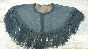 French 1890/1900 black silk moire sateen and lace trim fringed capelet visite