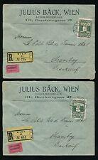 AUSTRIA 1911 REGISTERED ADVERTISING ENVELOPES JULIUS BACK 50h + 2 ETIQUETTES
