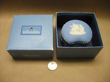 A Vintage Made in England Wedgewood Blue Bean Shaped Jasperware Trinket Box