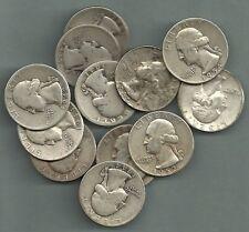 1932-1964 WASHINGTON QUARTERS, US 90% Silver Coin Lot - 12 Coins - $3.00 Face