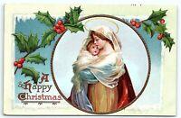 VTG Postcard Ellen Clapsaddle Christmas Jesus Mary Christ Child Madonna Holly A5