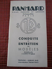 NOTICE D'ENTRETIEN PANHARD MODÈLES  6 D . S .R .L .N SPÉCIAL ( ref 46 )
