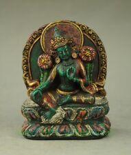 Tibet Buddhism Turquoise Coral White Tara Statue Buddha statue
