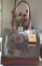 PATRICIA NASH Toscano TOTE Cross Stitch PURSE Tan Denim LEATHER NWT $249