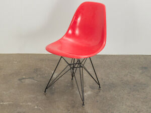 Eames for Herman Miller Candy Red Shell Chair on Eiffel Base