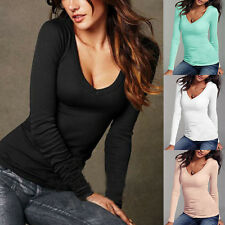 Damen Bluse Hemd T-Shirts V-Ausschnitt Top Casual Langarm Shirt Oberteile
